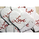 Love Red Heart Shape Seed Embedded Cotton Handmade Paper Tags (set of 50)