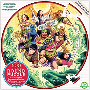 eeBoo Goddesses and Warriors Round Jigsaw Puzzle for Adults and Kids, 500 Pieces