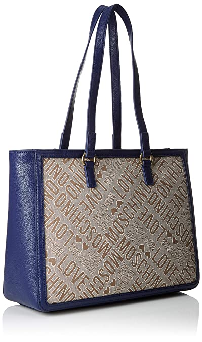 Love Moschino Tess.Jacquard pu, Borsa a spalla Donna, Multicolore (Naturale Blu) 15x10x15 cm (W x H x L)