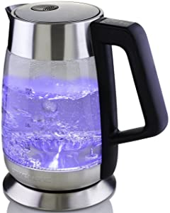 Ovente Glass Electric Kettle, Fast Heating with Temperature Control and Keep Warm on EACH Temperature Setting, 1.8L, Auto Shut-Off and Boil-Dry Protection, BPA Free (KG66S)