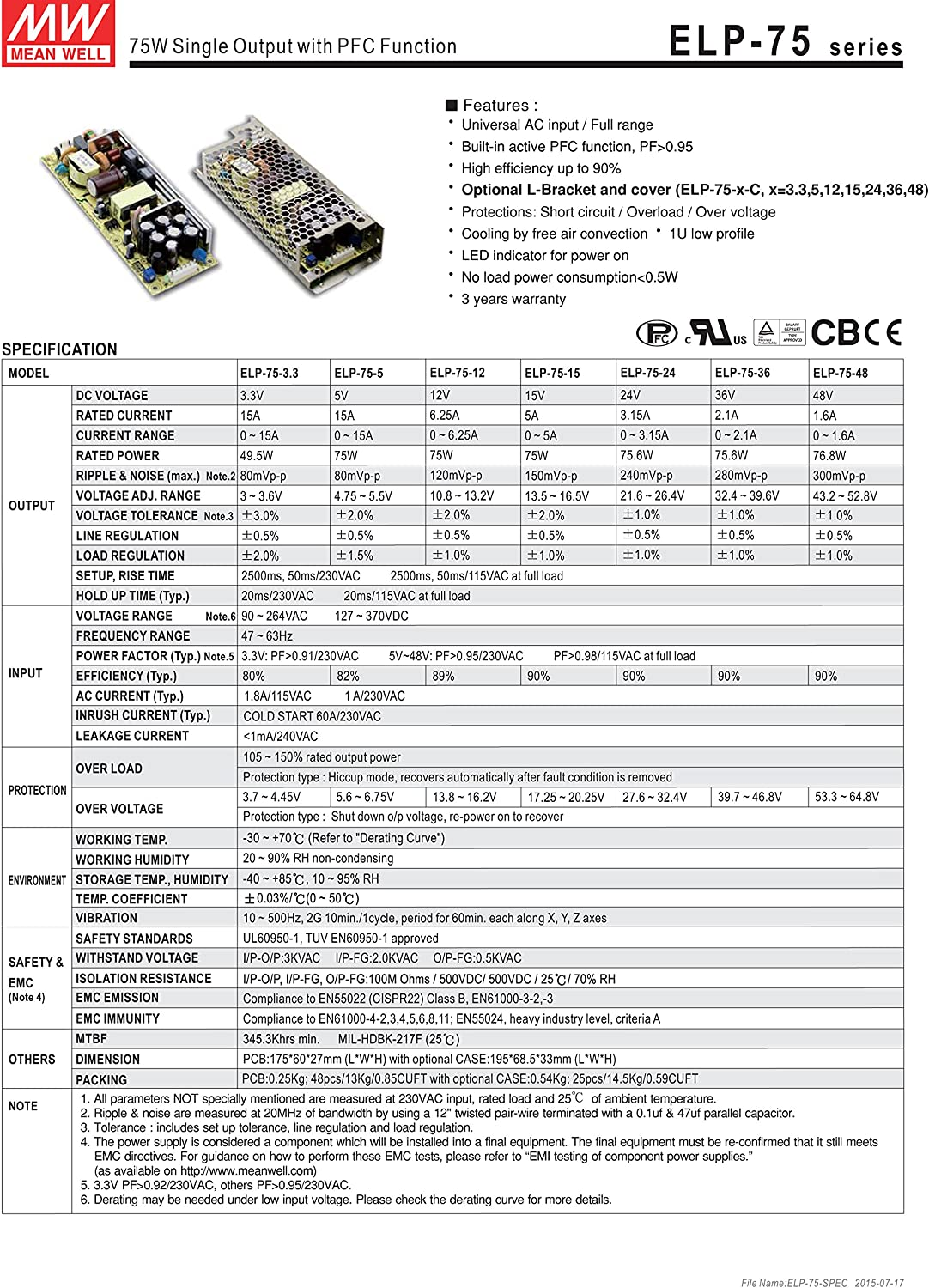 Mean Well Original ELP-75-3.3-C Single Output Switching with PFC Funtion Power Supply 3.3V 15A 48W