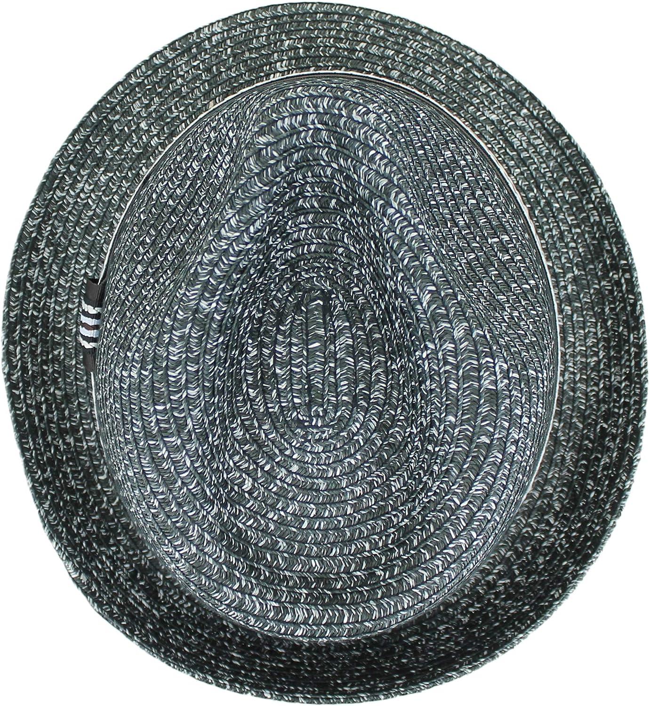 Black Tan Belfry Men Women Straw Trilby Summer Fedora Hat in Blue