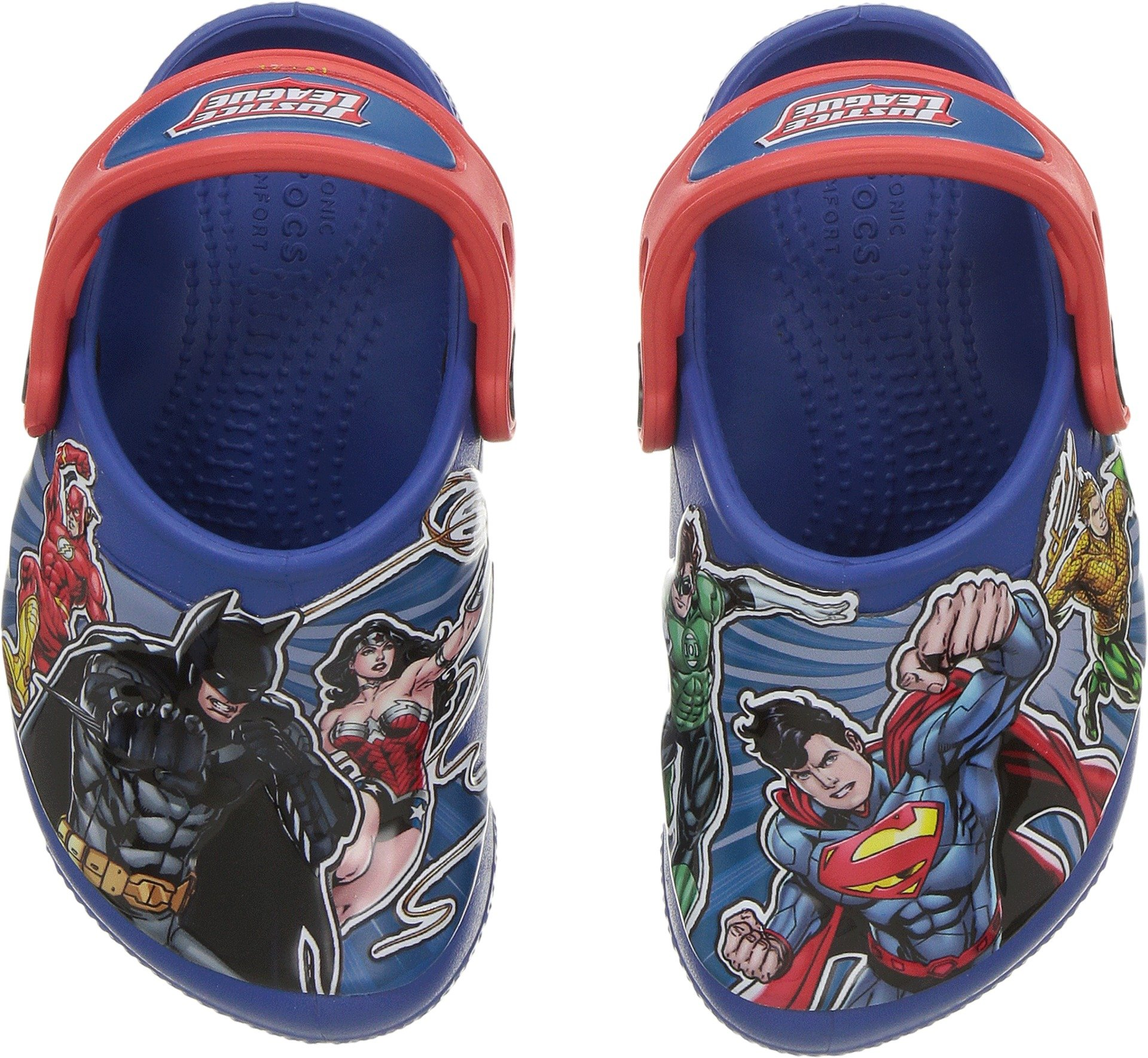 Crocs Boys' FL Justiceleague Lights K Clog, Blue Jean, 12 M US Little Kid