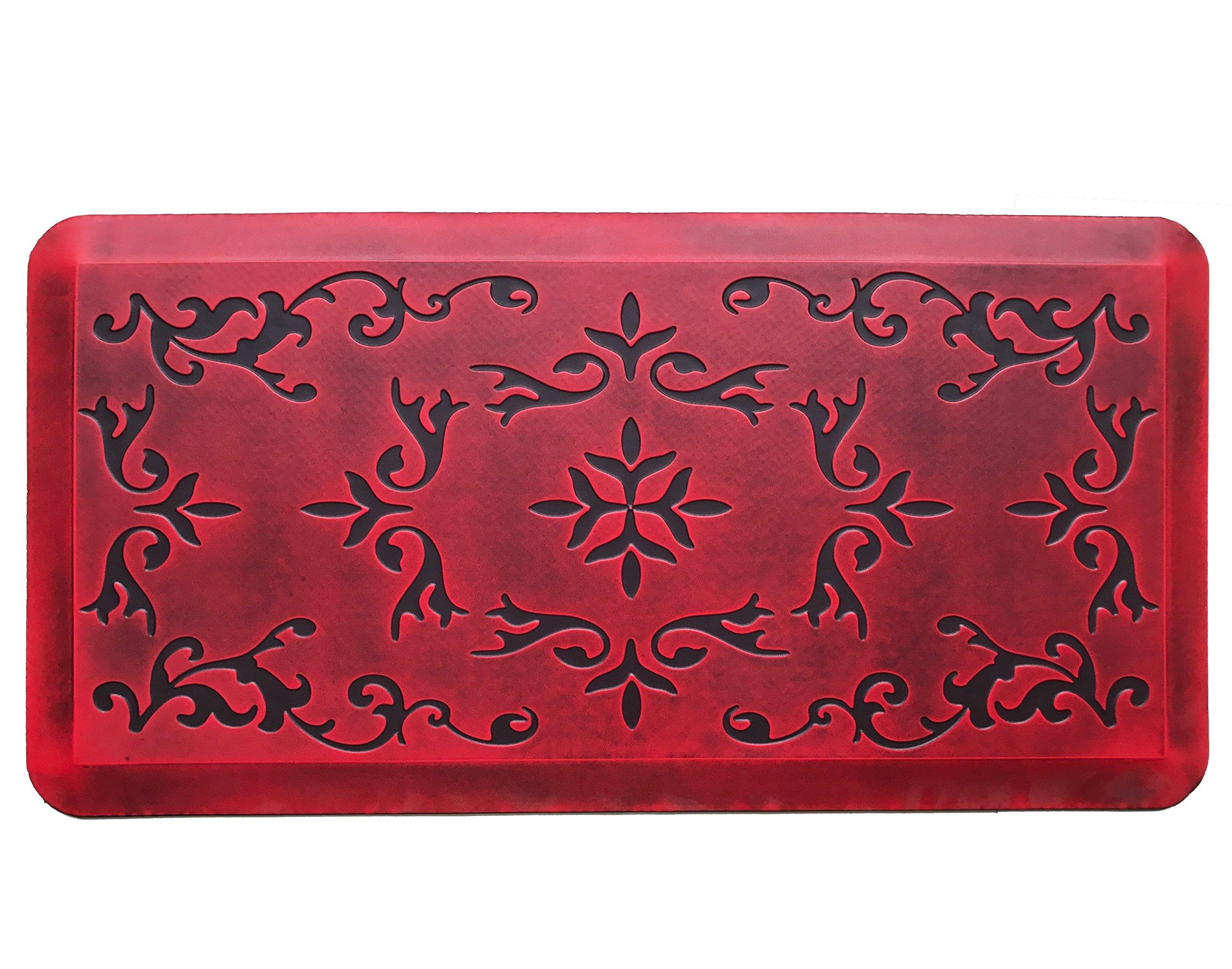 Licloud Anti-fatigue Mat Non-toxic Kitchen Mat Floor Mat Comfort Mat (20x39x3/4-Inch, Antique Flower Red 1)