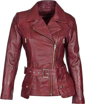 handmade  Genuine  leather Women Leather jacket Red Real leather Coat Ladies Slim Fit jacket