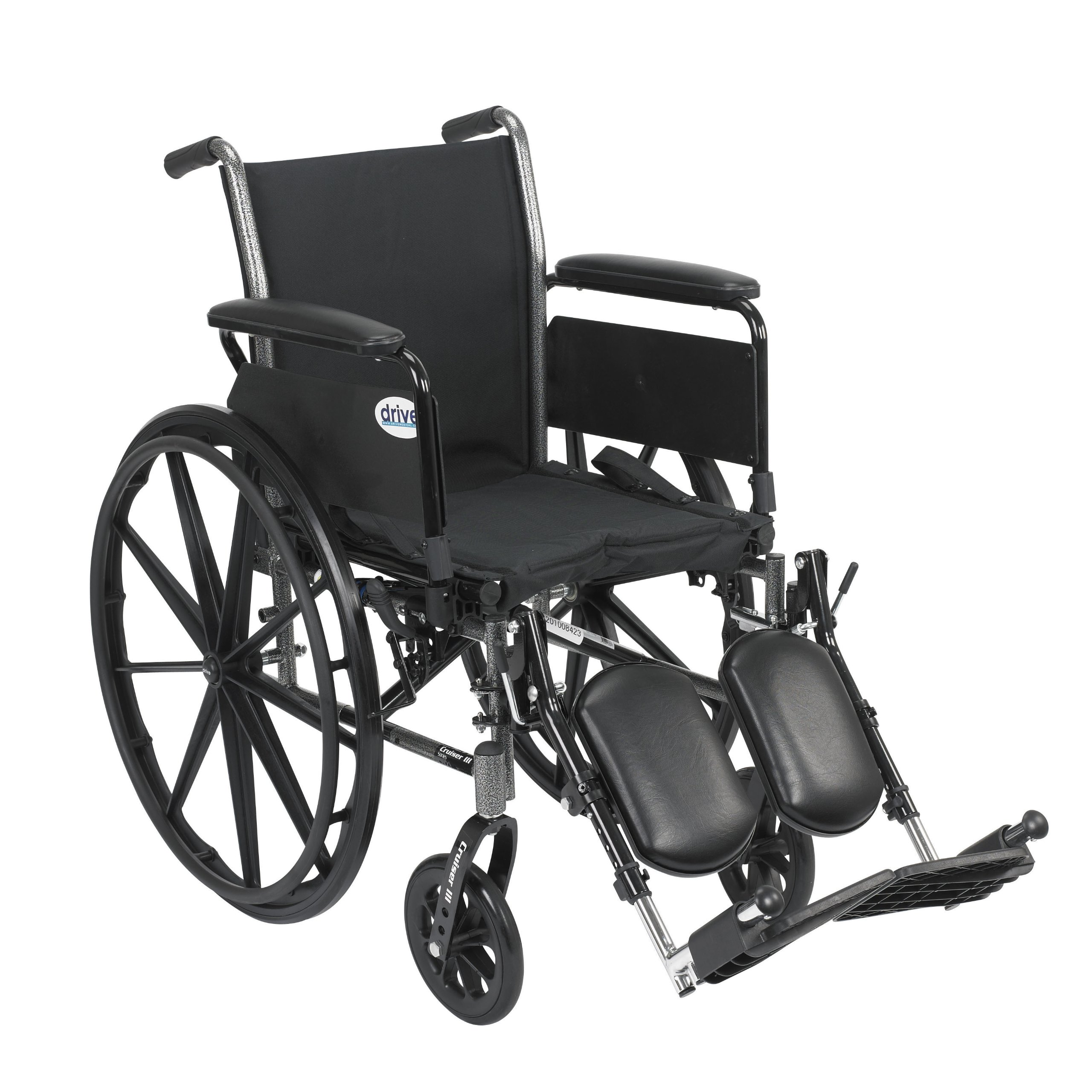 Drive Medical Cruiser III Light Weight Wheelchair with Various Flip Back Arm Styles and Front Rigging Options, Flip Back Removable Full Arms/Elevating Leg Rests, Black, 20 Inch by Drive Medical