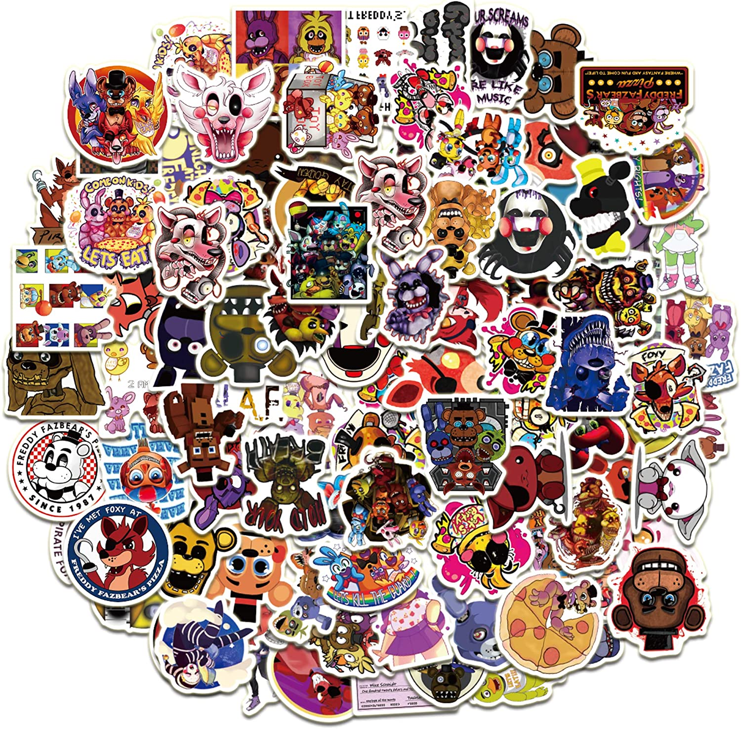 Five Nights at Fred_dy's Stickers 101PCS Cartoon Gaming Action Figures Art Work for Laptop Bumper Computer Scrapbook Pencil Case Boys FN_AF Decorations Gifts