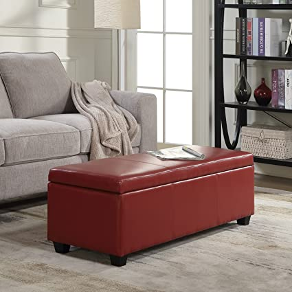 belleze red ottoman bench top storage living room bed home leather rectangular 48 - Living Room Bench