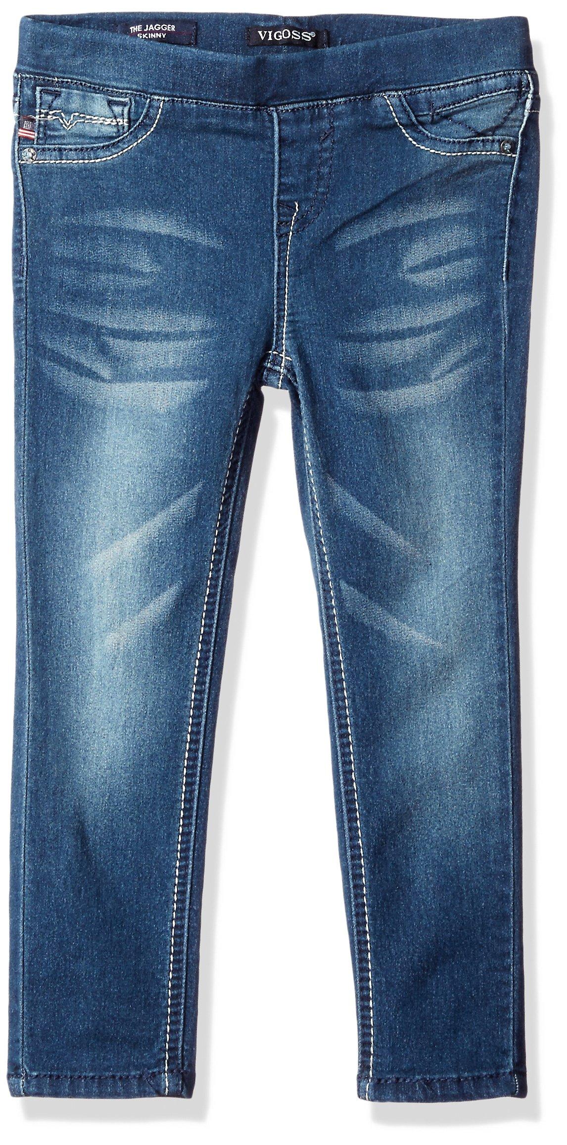 VIGOSS Girls' Girls' 5 Pocket Classic Pull on Skinny Jean, True Blue, 2T