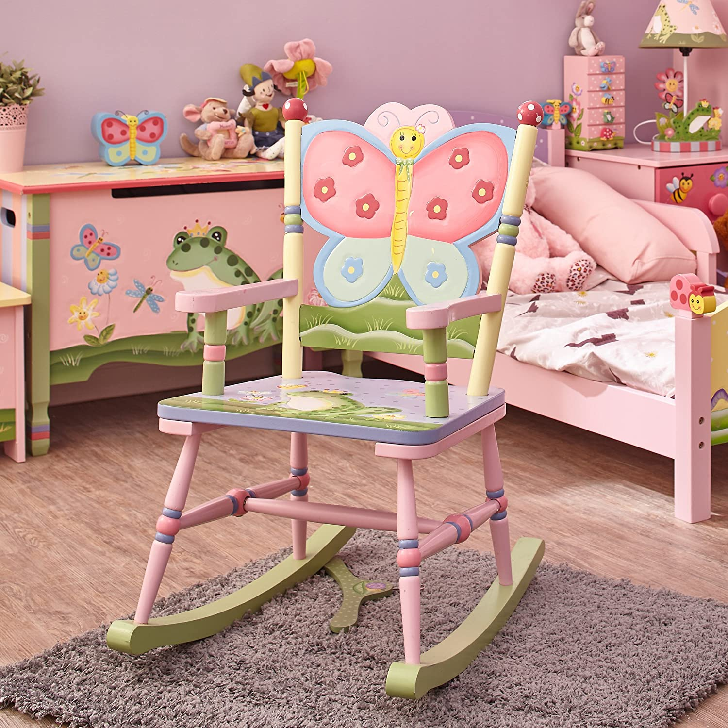 Hand Crafted /& Hand Painted Details Crackled Rose themed Kids Wooden Rocking Chair Fantasy Fields Child Friendly Water-based Paint