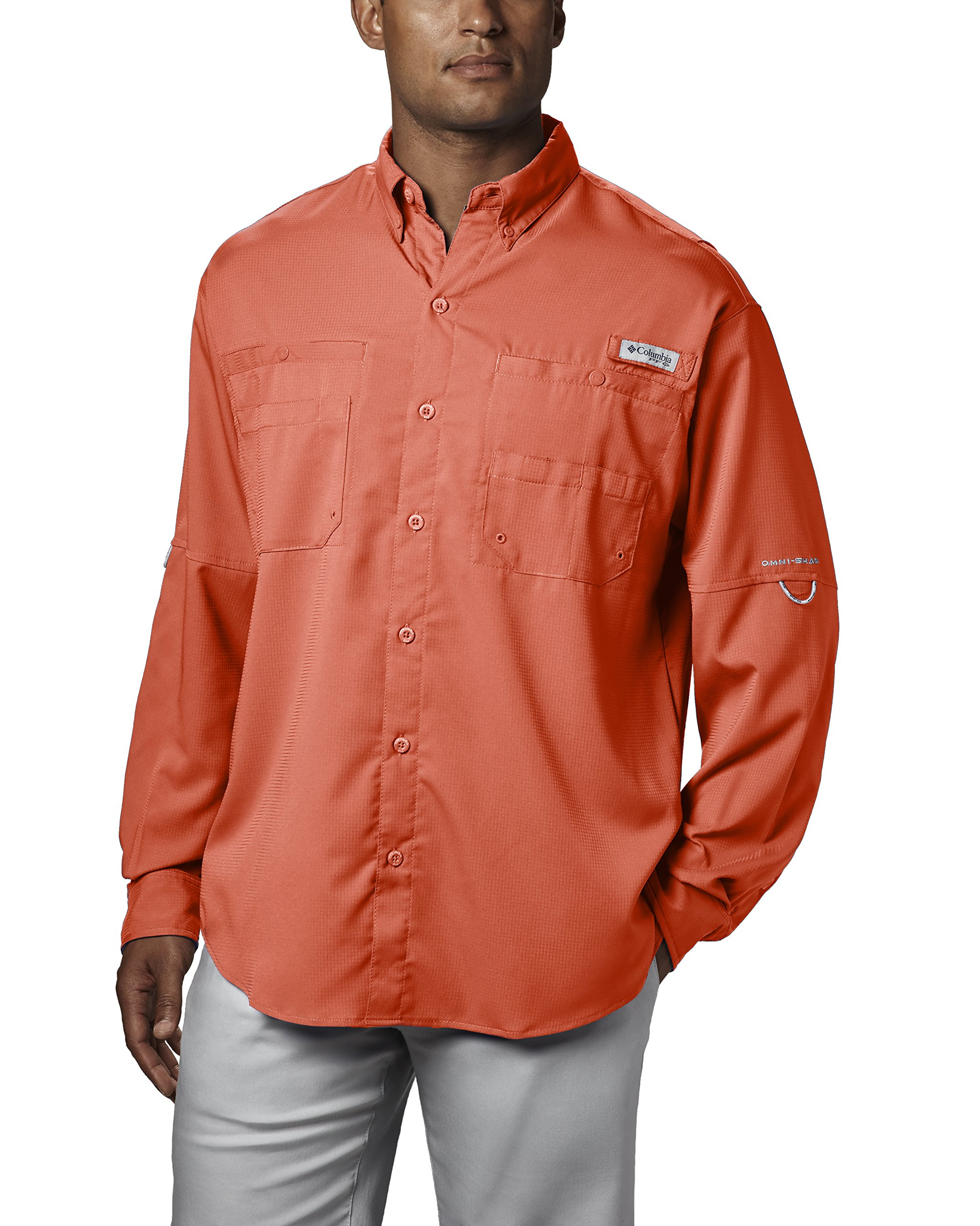 Columbia Men's PFG Tamiami II Long Sleeve Shirt , Bright Peach, X-Small