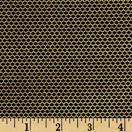 Amazon.com: Metallic Lace Mesh Metallic Black/Gold Fabric By The Yard