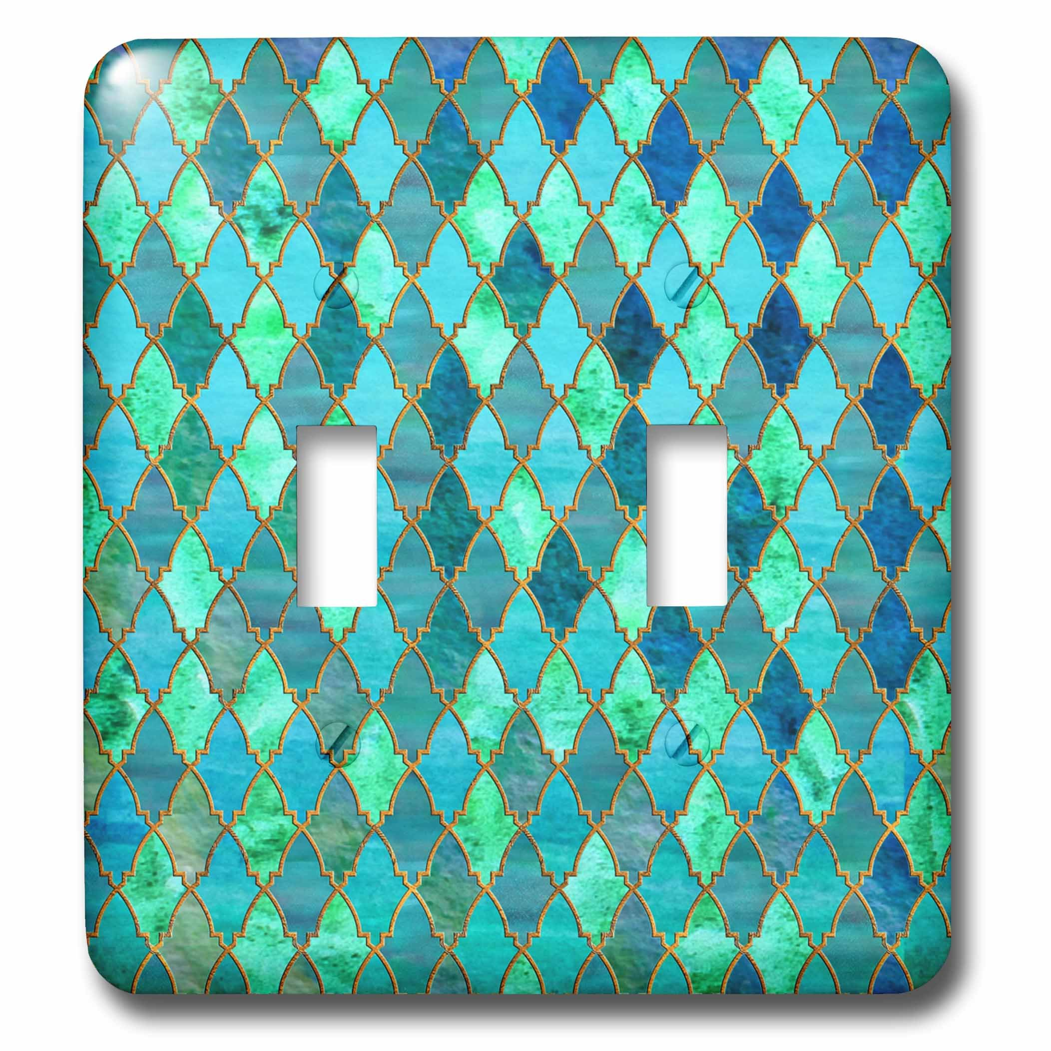 3dRose Uta Naumann Faux Glitter Pattern - Luxury Trendy Gold Green Teal Moroccan Arabic Quatrefoil Tile Pattern - Light Switch Covers - double toggle switch (lsp_268959_2) by 3dRose (Image #1)