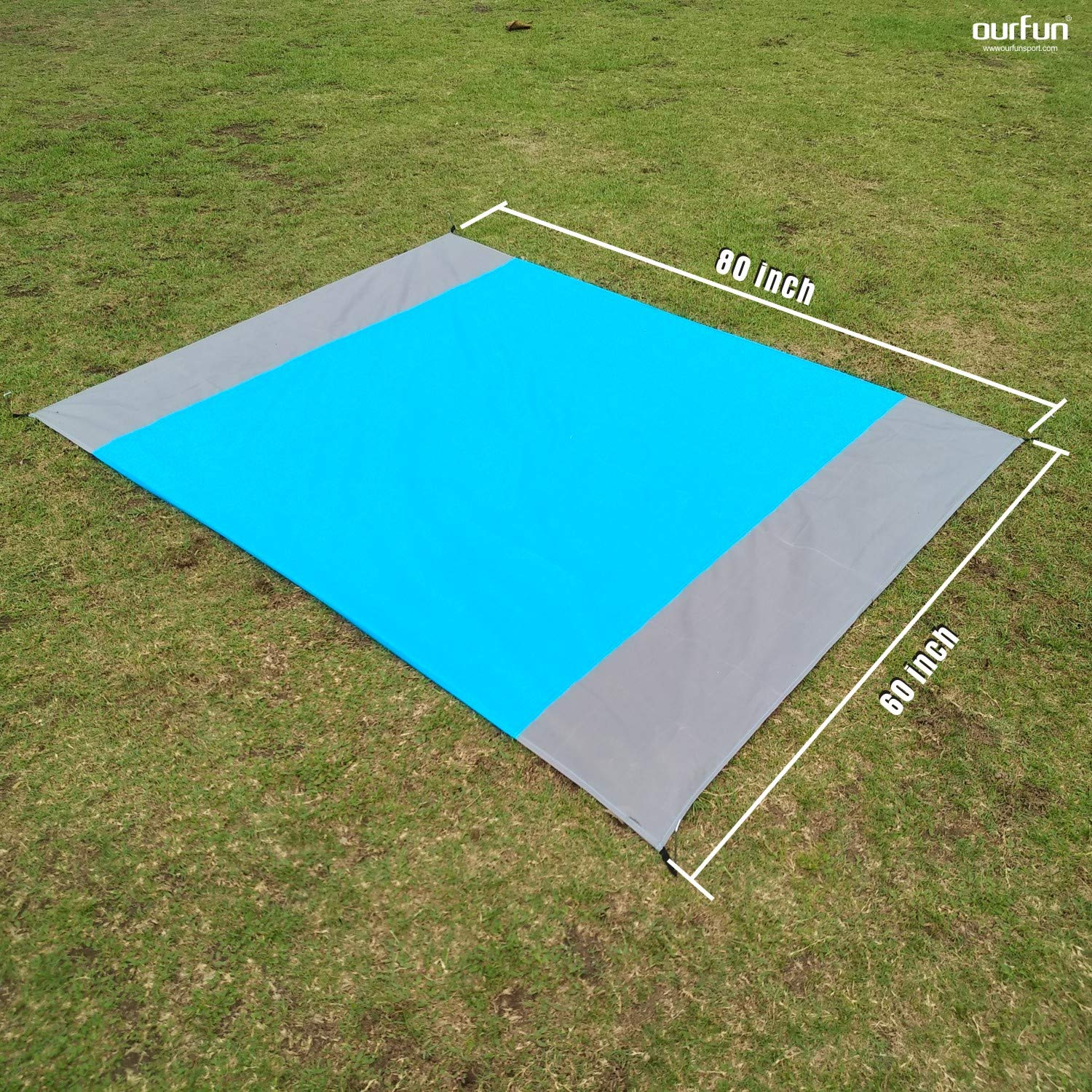 ourfun Pocket Beach Blanket Reflective Fabric Greenhouse Portable Family Picnic Mat Outdoor Camping Travel Backyard Foldable Durable Machine Washable Pouch 80''x60'', Blue