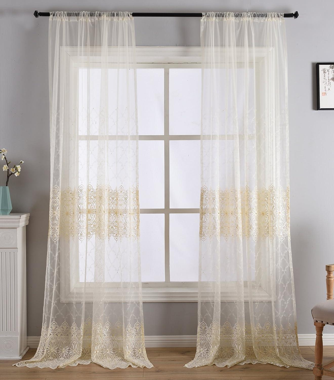BW0057 Europern Style Klassisches Muster bestickte Perlenvorhang für Schlafzimmer Wohnzimmer 001 1300469C3BYAWH15095-8510 1 Panel, B 127 x L 24,5 cm, weiß