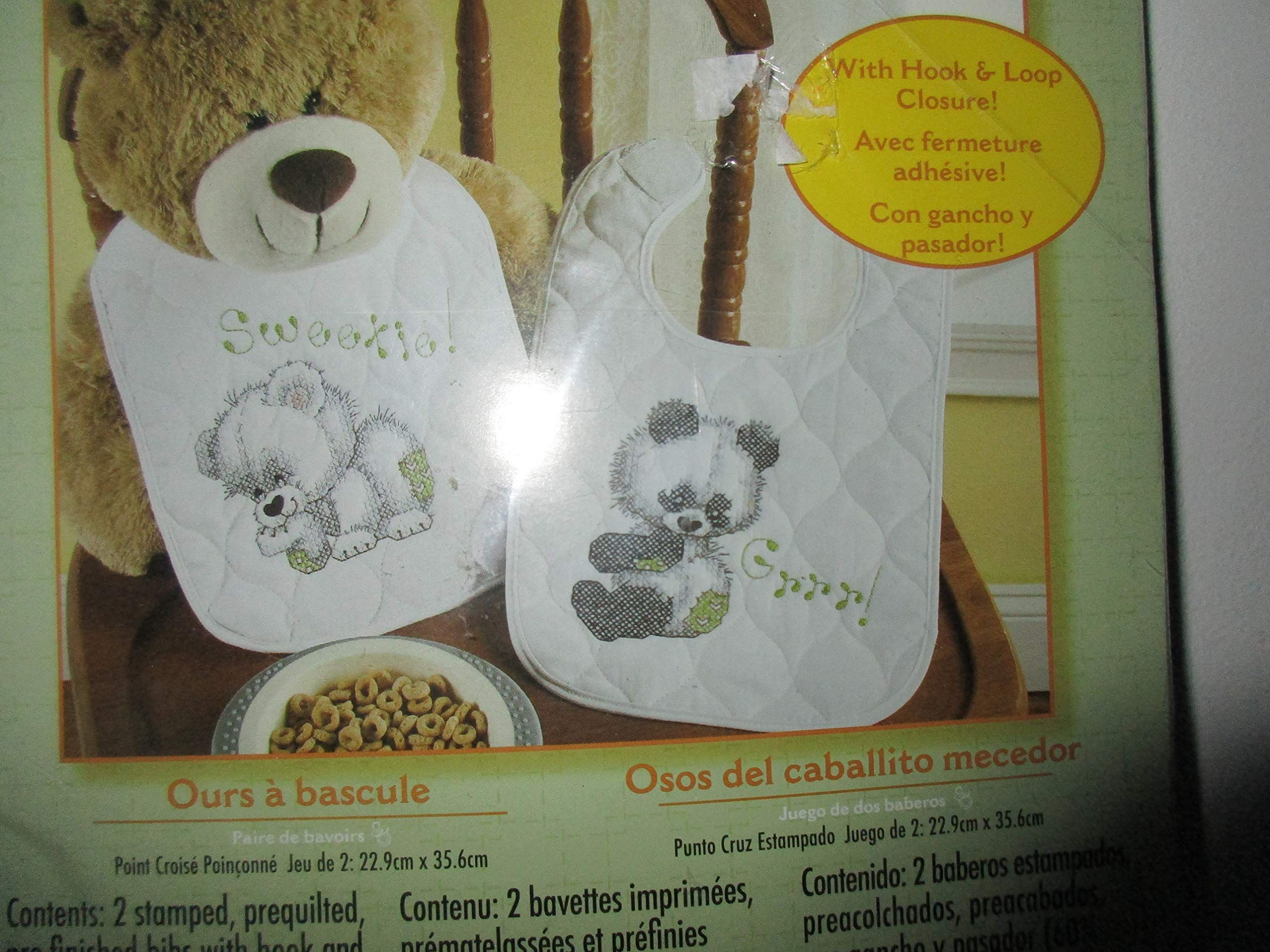 Bucilla Baby Stamped Cross Stitch Quilted Bib Kit, 45611 Rocking Horse Bears (Set of 2)