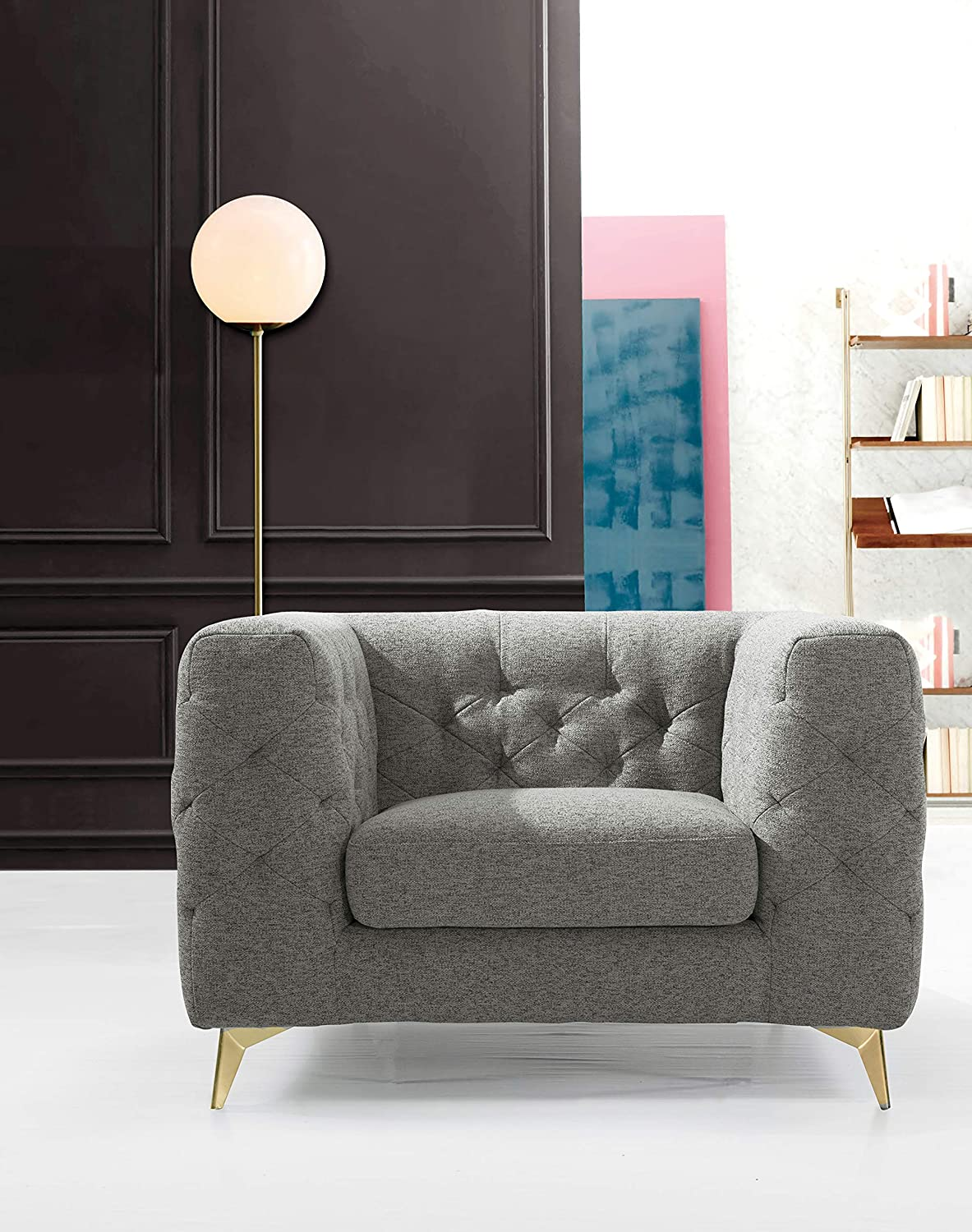 Iconic Home Soho Accent Club Chair Linen Textured Upholstery Plush Tufted Shelter Arm Solid Gold Tone Metal Legs Modern Transitional, DARK GREY