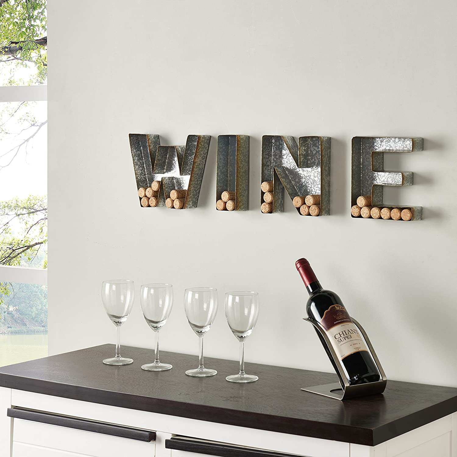Danya B. HG11415 Wall Mount Decorative Galvanized Metal Art Wine Letters Cork Holder