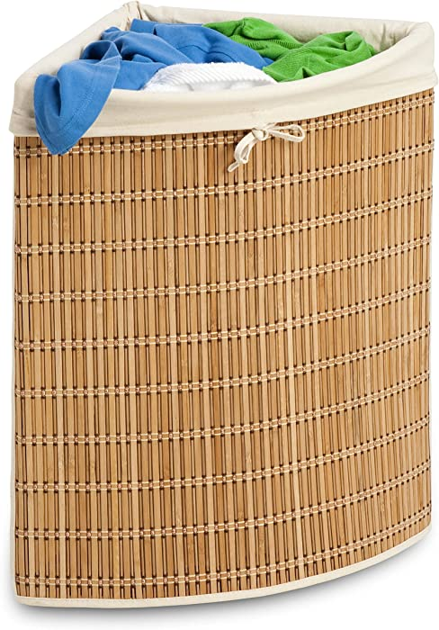 Honey-Can-Do Bamboo Wicker Corner Hamper