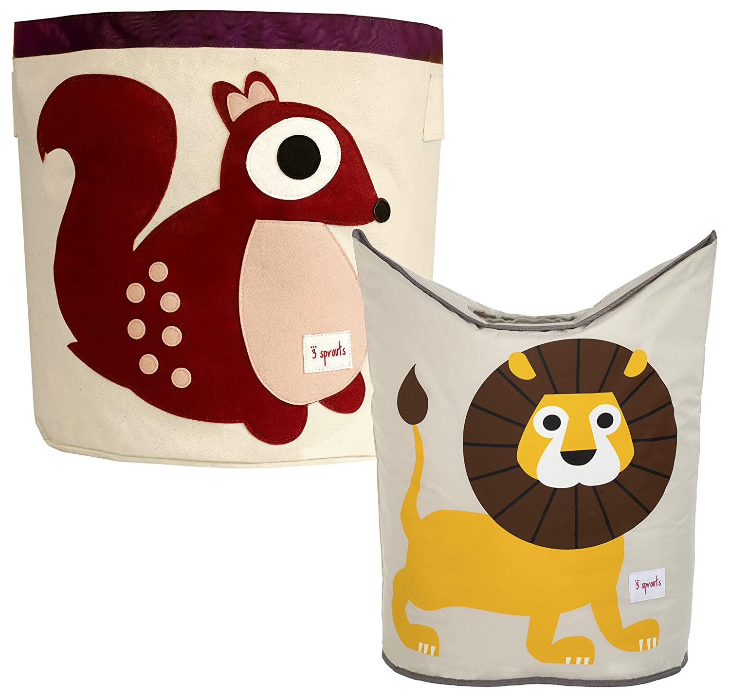 3 Sprouts Storage Bin and Laundry Hamper, Squirrel/Lion