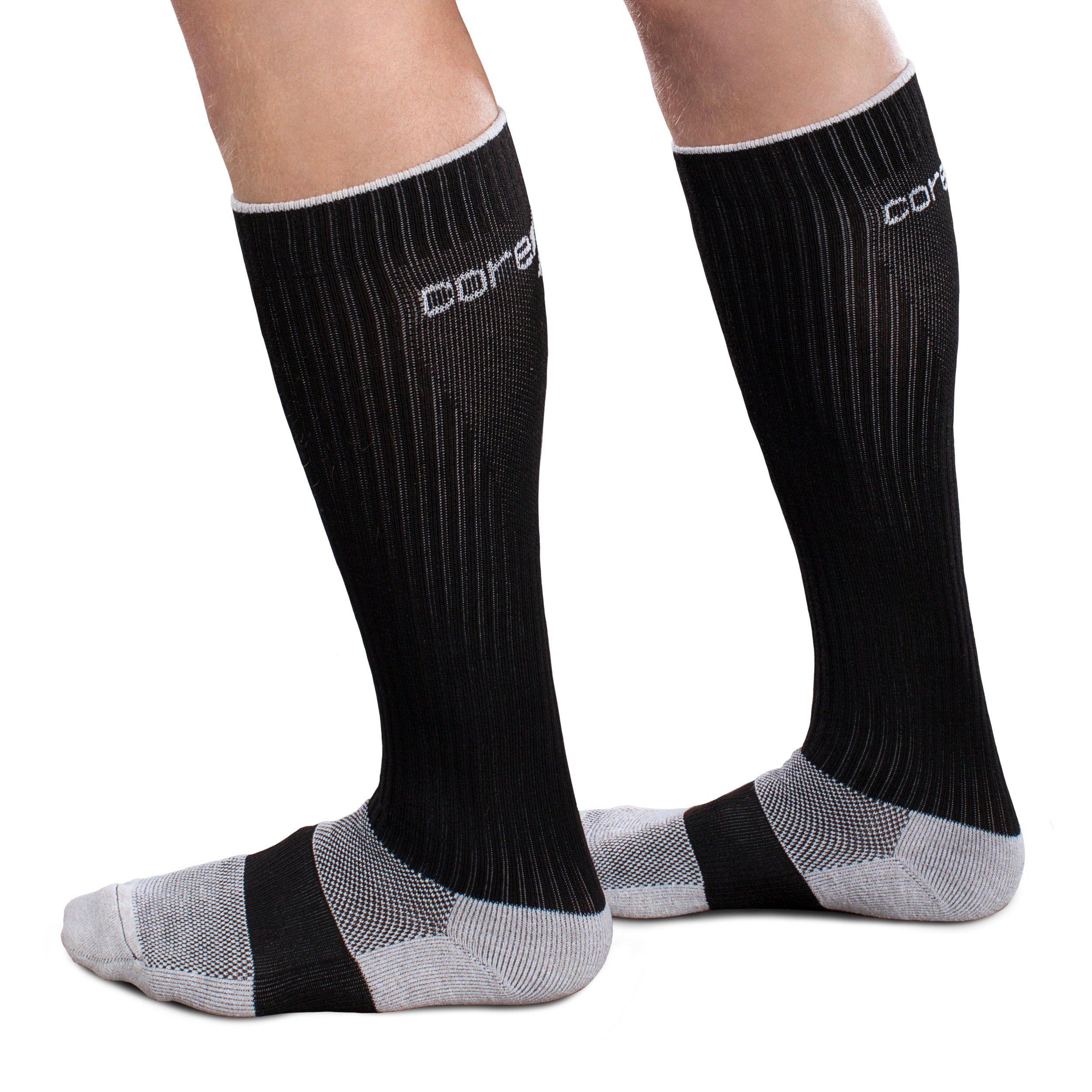 CoreSport Athletic Performance Compression Socks - 20-30mmHg Moderate Compression (Black, Large) by Core-Sport
