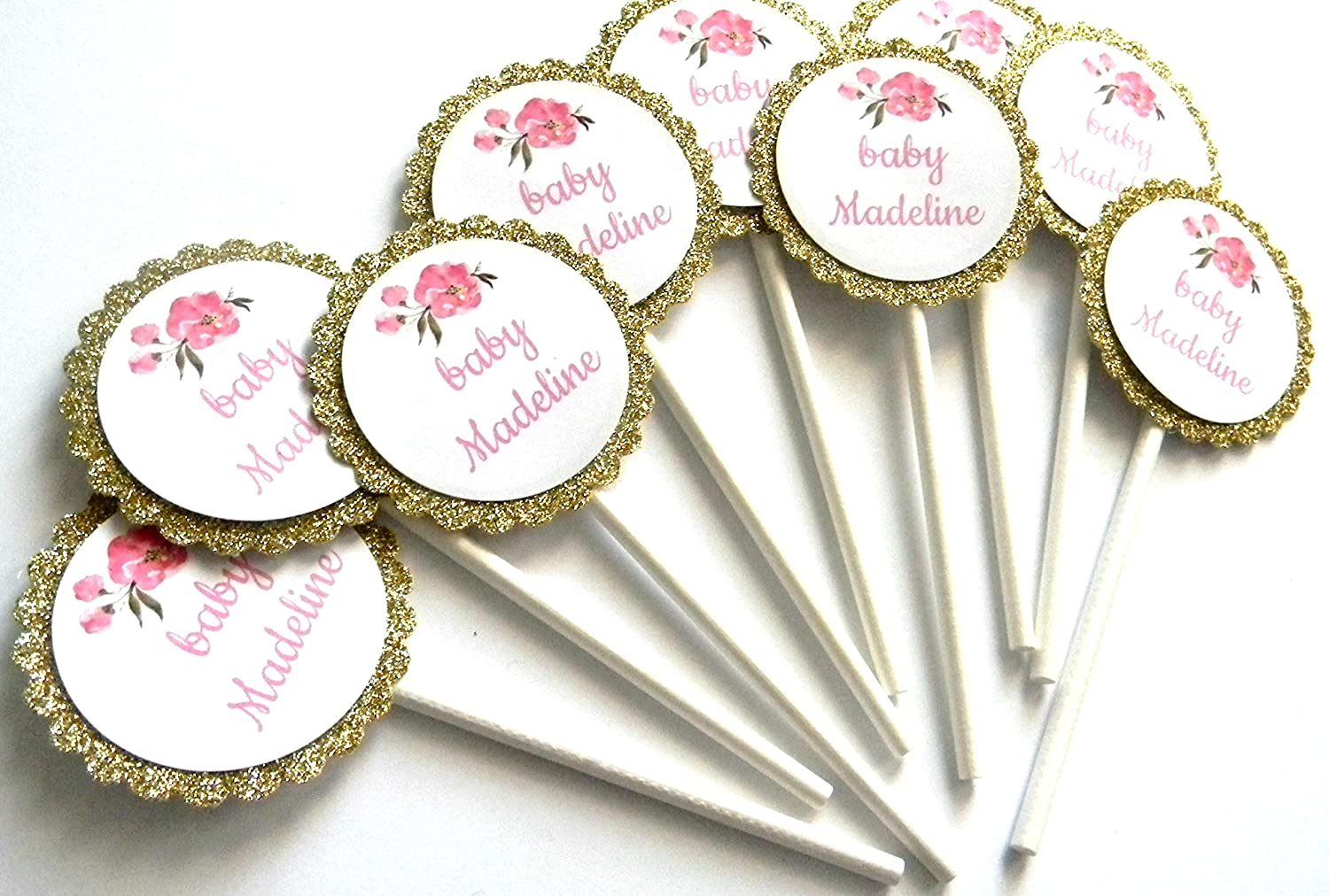 Set of 12 Pink Peonies Personalized Cupcake Toppers