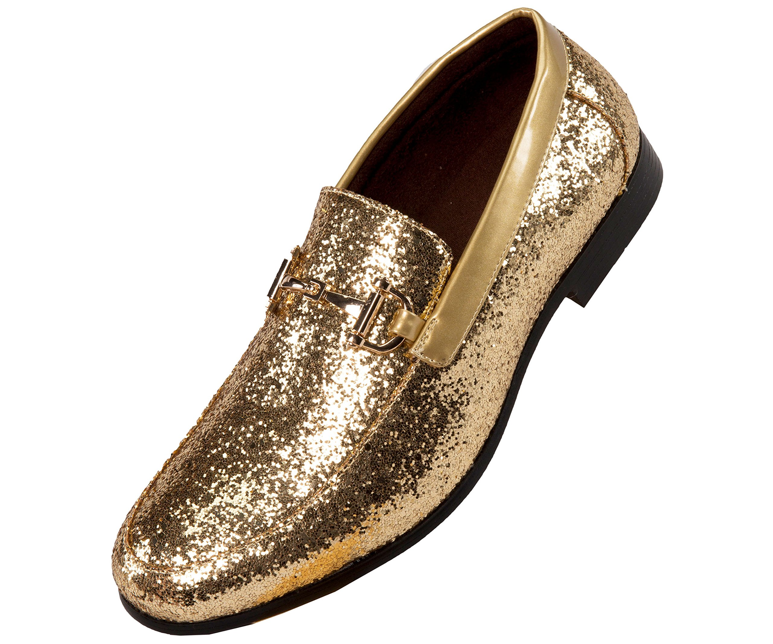 Amali Mens Metallic Sparkling Glitter Tuxedo Slip on Smoking Slipper Dress Shoe