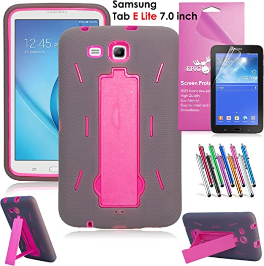 Amazon Com Samsung Galaxy Tab E Lite 7 0 Case Epicgadget Heavy Duty Rugged Impact Hybrid Case With Build In Kickstand Protection Cover For Galaxy Tab E 7 T113 Screen Protector Pen Gray Pink