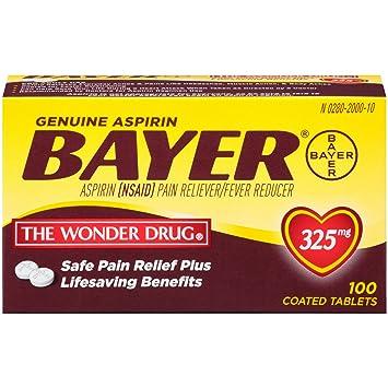 Amazon Genuine Bayer Aspirin 325mg Tablets 100 Count Health