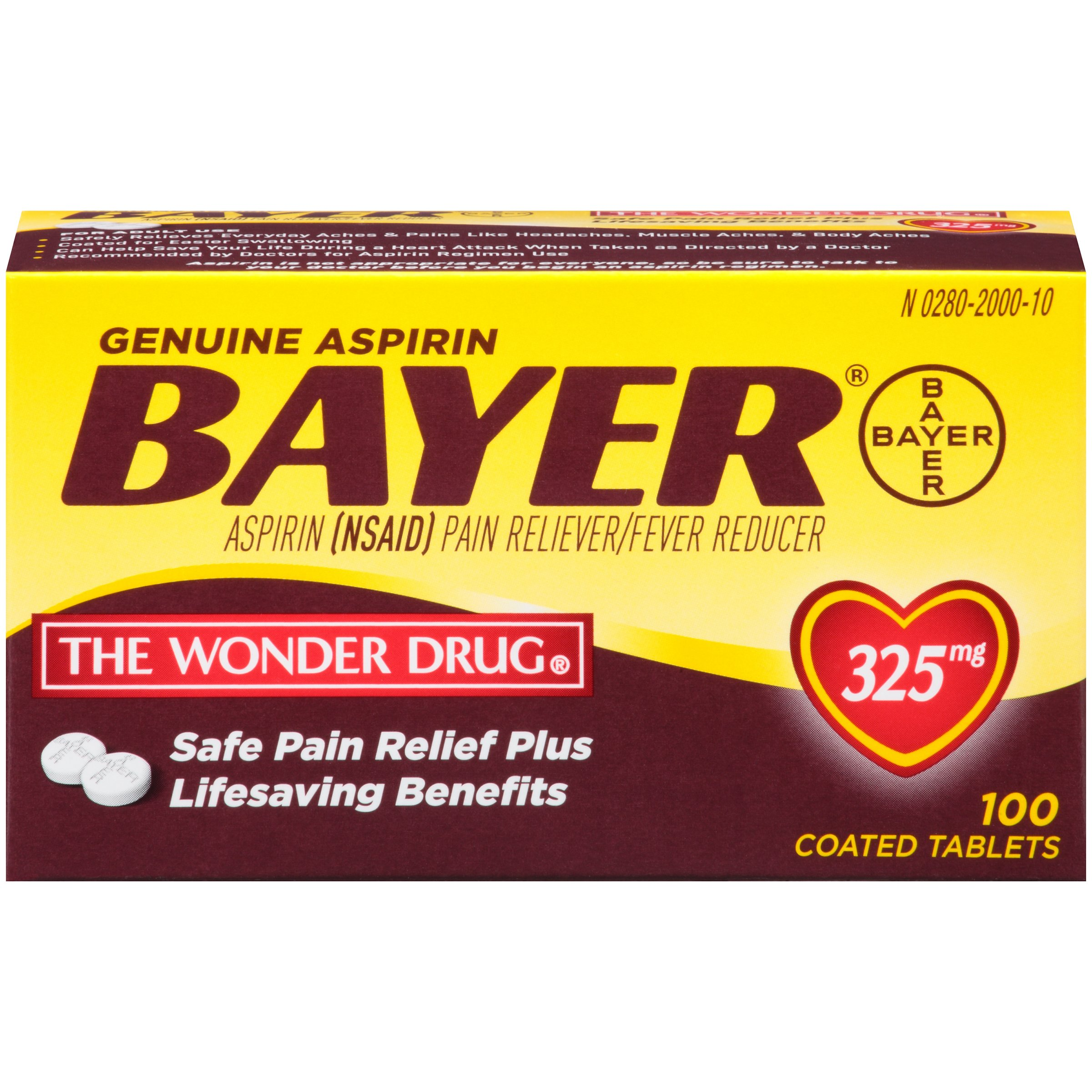 Genuine Bayer Aspirin 325mg Coated Tablets, Pain Reliever and Fever Reducer, 100 Count