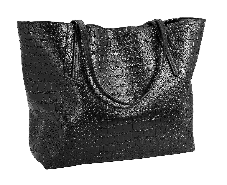 Amazon.com  Iswee Women Leather Work Tote Large Satchel Vintage Purse (Black)   Shoes ebd0da0b72d53