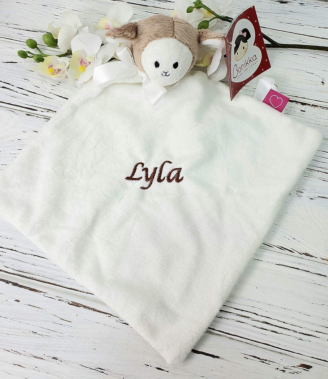 Unisex Babydecke weich personalisierbar bestickt Lamm-Design