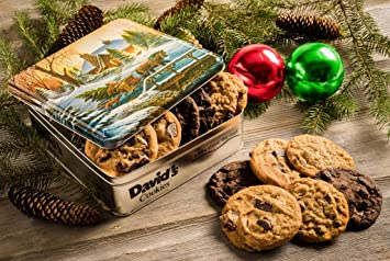 Davidu0027s Cookies U2014 Assorted Fresh Baked Holiday Cheer Cookie Gift Tin U2014  Contains 12 Fresh