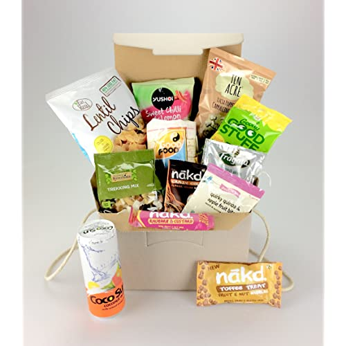 Love Vegan BOX Large selection including:- Protein, Nuts, Nakd, Popcorn 100% Vegan Unique Gift - Female or Male - His Hers , Good Luck, Mother's Day, Birthday, Get Well, Anniversary, New Home, Thank You, Easter, Sharing, Well Done, Graduation, Corporate - Add personal message!