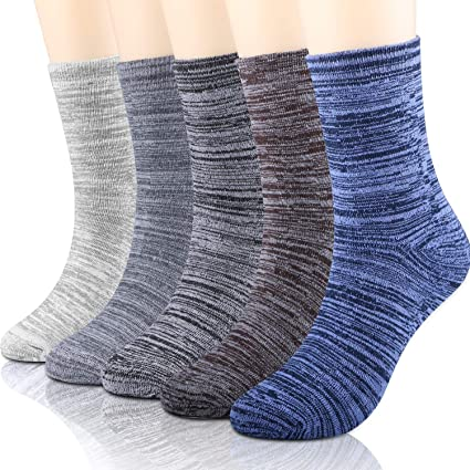 WOSTOO Calcetines de algodón Hombre, 5 Pares Engrosamiento Largo de Calcetines de Lana Tejida Gruesa