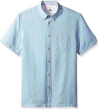 0c1254fffc8fc Amazon.com: Ben Sherman Men's Short Sleeve Modern Plain/Linen Summer, Sky  Blue Medium: Clothing