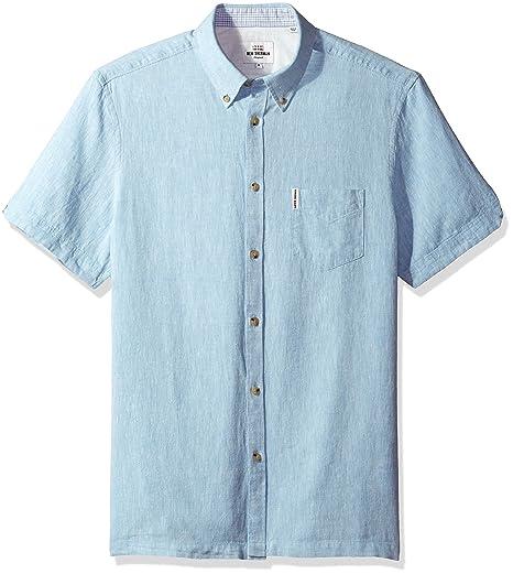 080bf8eff3 Amazon.com  Ben Sherman Men s Short Sleeve Modern Plain Linen Summer ...