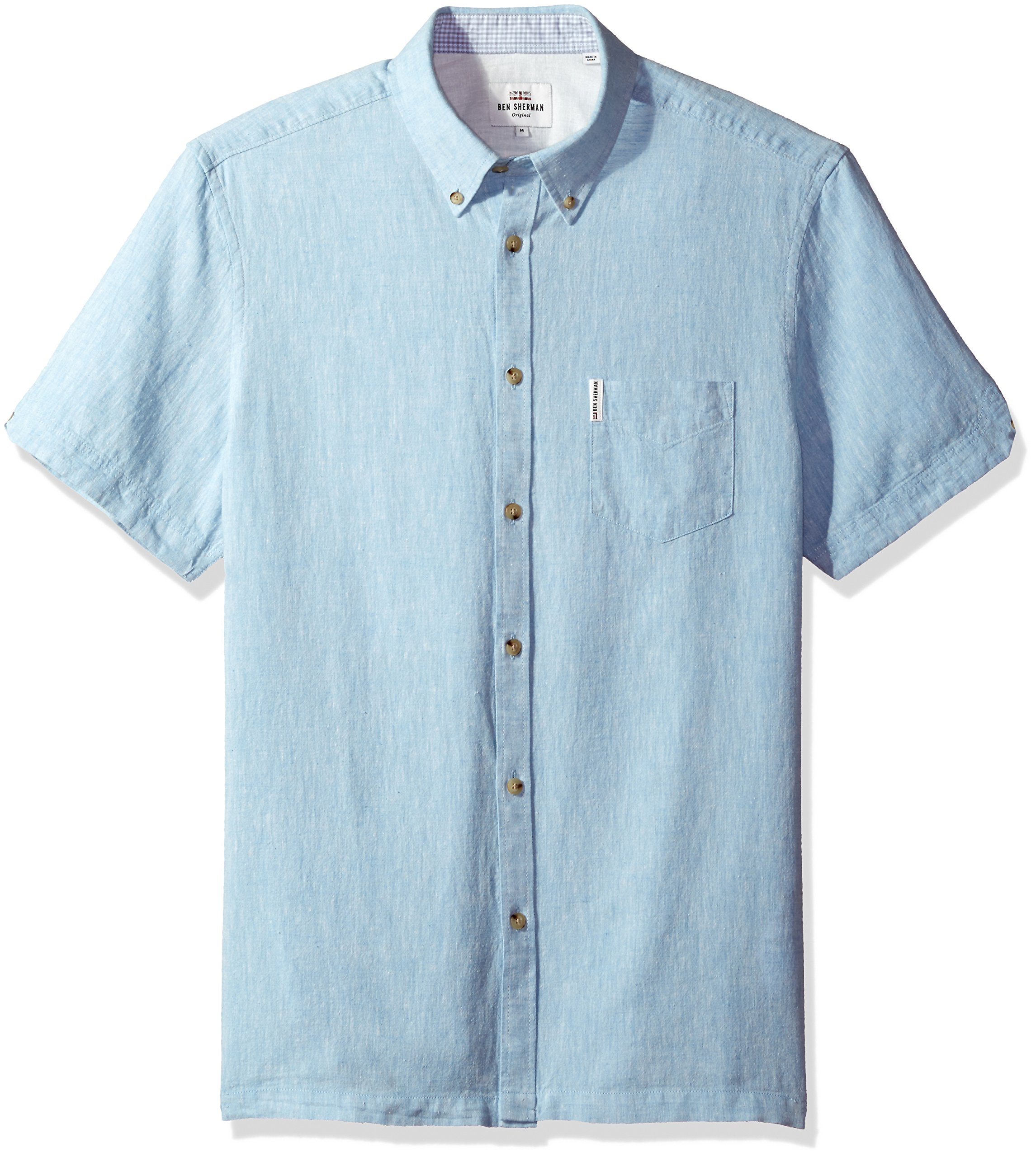 Ben Sherman Men's Short Sleeve Modern Plain/Linen Summer, Sky Blue, Large