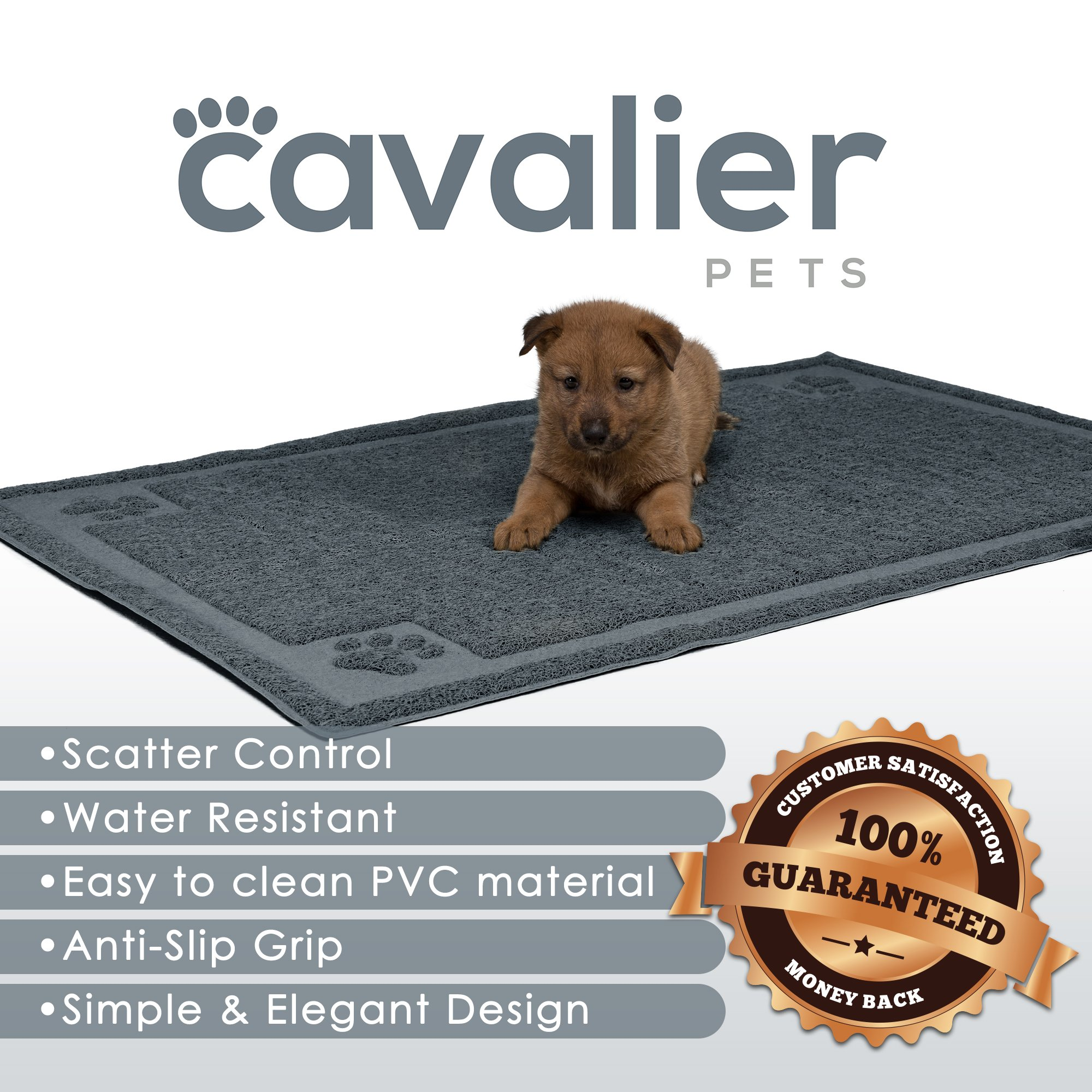 Cavalier Pets, Extra Large Dog Bowl Mat for Cats and Dogs, Silicone Non-Slip Absorbent Waterproof Dog Food Mat, Water Resistant and Easy to Clean, Unique Paw Design, 36 by 24 Inch, Grey by Cavalier Pets (Image #2)