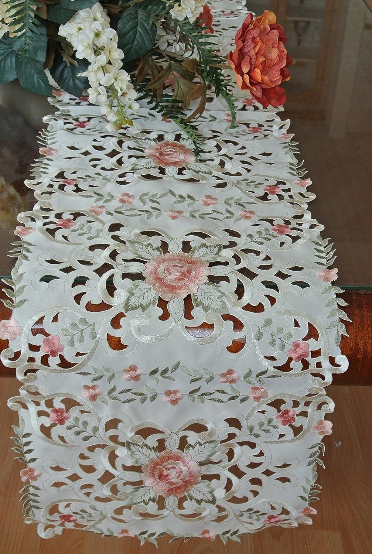 Tasleffaエレガントな刺繍とカットワーク刺繍花柄リネンテーブルランナー。16