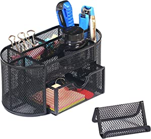 Metal Mesh Oval Office Desk Organizer Caddy with Drawer Used As Pen Holder,Pencil Holder Or Paper Organizer to Collect Desk accessories,Black Desktop Organizer Together with Mobile Phone Holder.