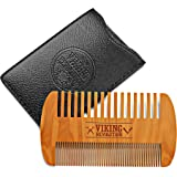 Wooden Beard Comb & Case, Dual Action Fine & Coarse Teeth, Perfect for use with Balms and Oils, Top Pocket Comb for…