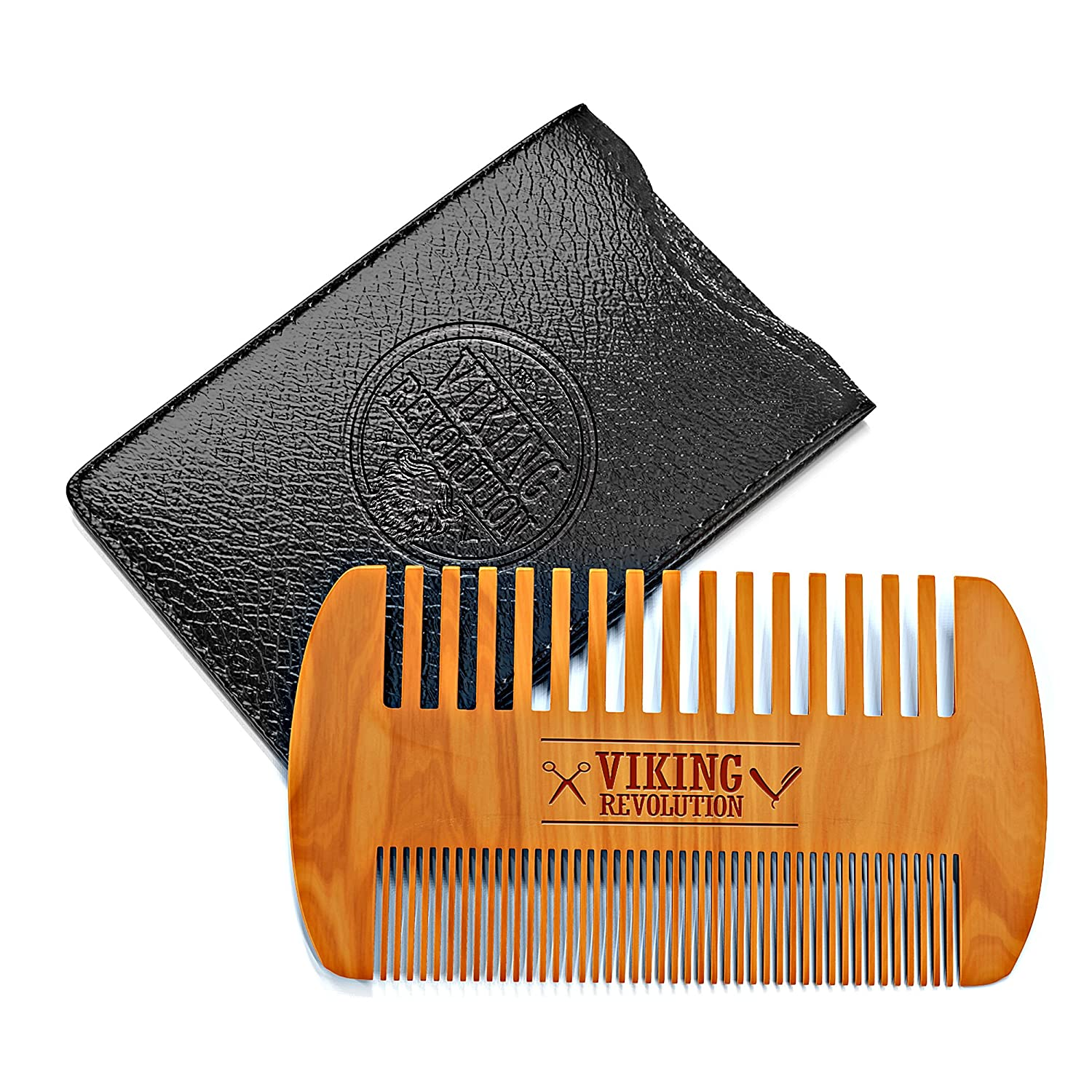 Viking Revolution Wooden Beard Comb & Case