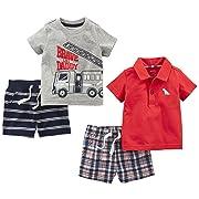 Simple Joys by Carter's Baby Boys' 4-Piece Playwear Set, Red Plaid/Fire Truck/Blue Stripe, 3-6 Months