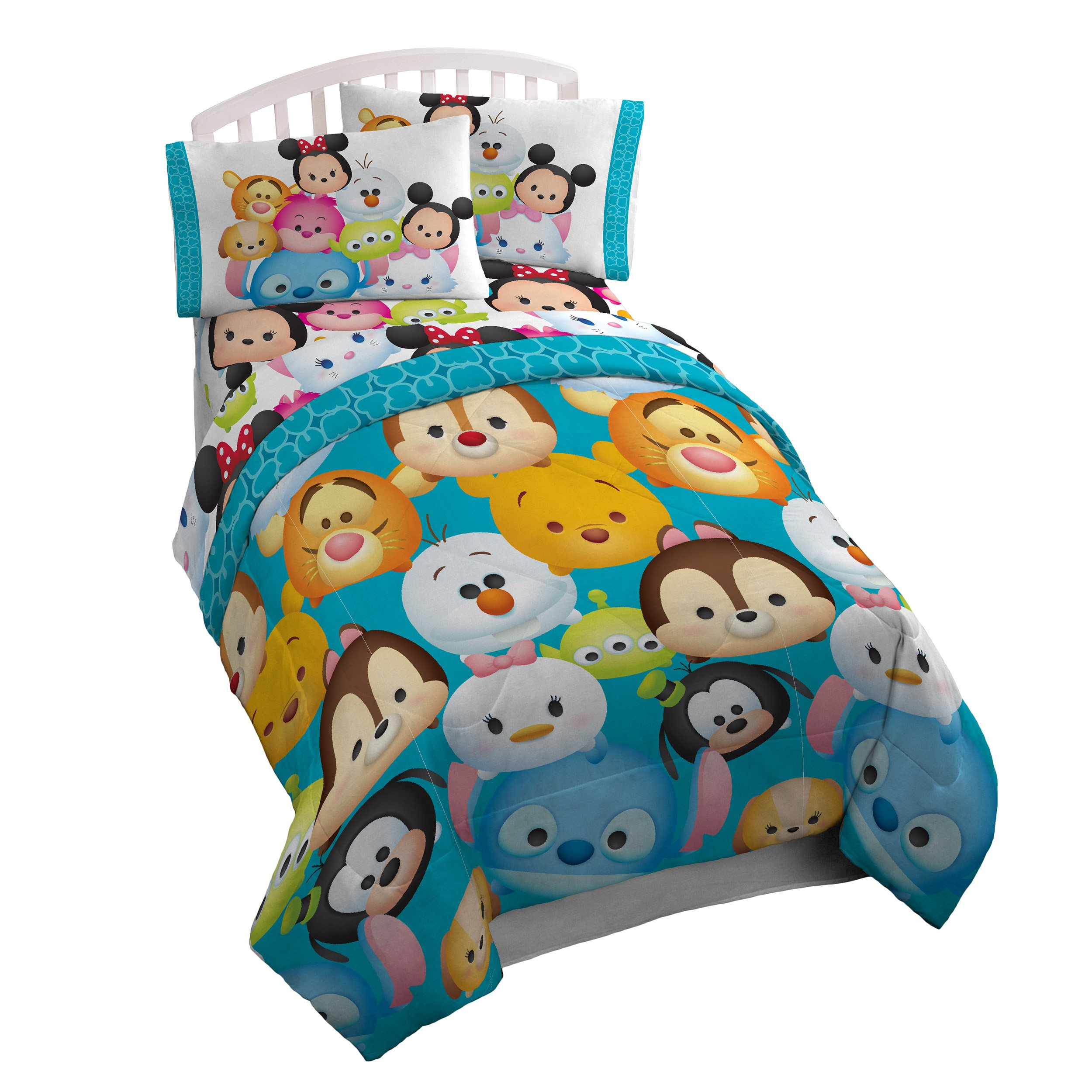 Disney Tsum Tsum 'Character' Teal Microfiber Twin Reversible Comforter