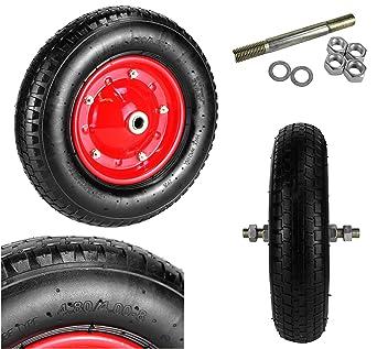 Rueda carretilla rueda neumático de aire Diámetro 400 mm Rueda de repuesto carretilla carretilla Neumáticos 4.00