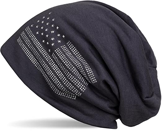 Stars and Stripes Feinstrick Beanie Mütze mit Stern und Streifen Muster Unisex