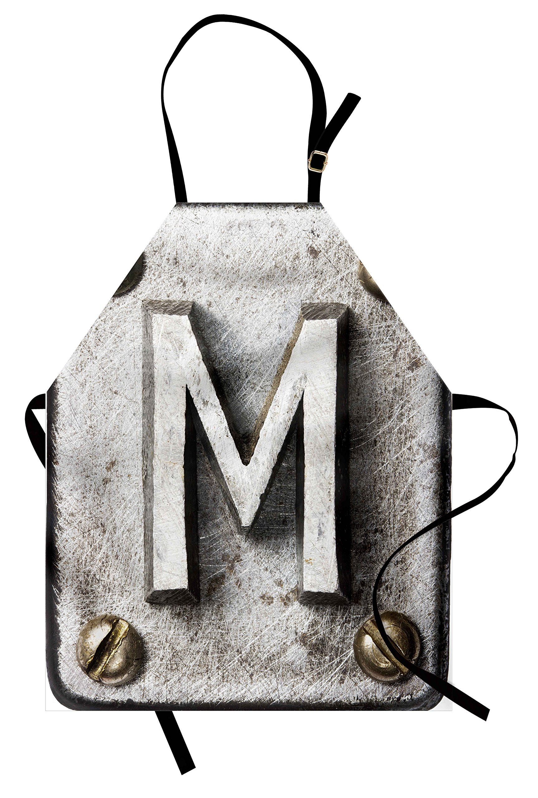 Ambesonne Letter M Apron, Zinc Iron Steel Alphabet Typeset with Grunge Scratched Texture Industrial Image, Unisex Kitchen Bib Apron with Adjustable Neck for Cooking Baking Gardening, Silver Gold