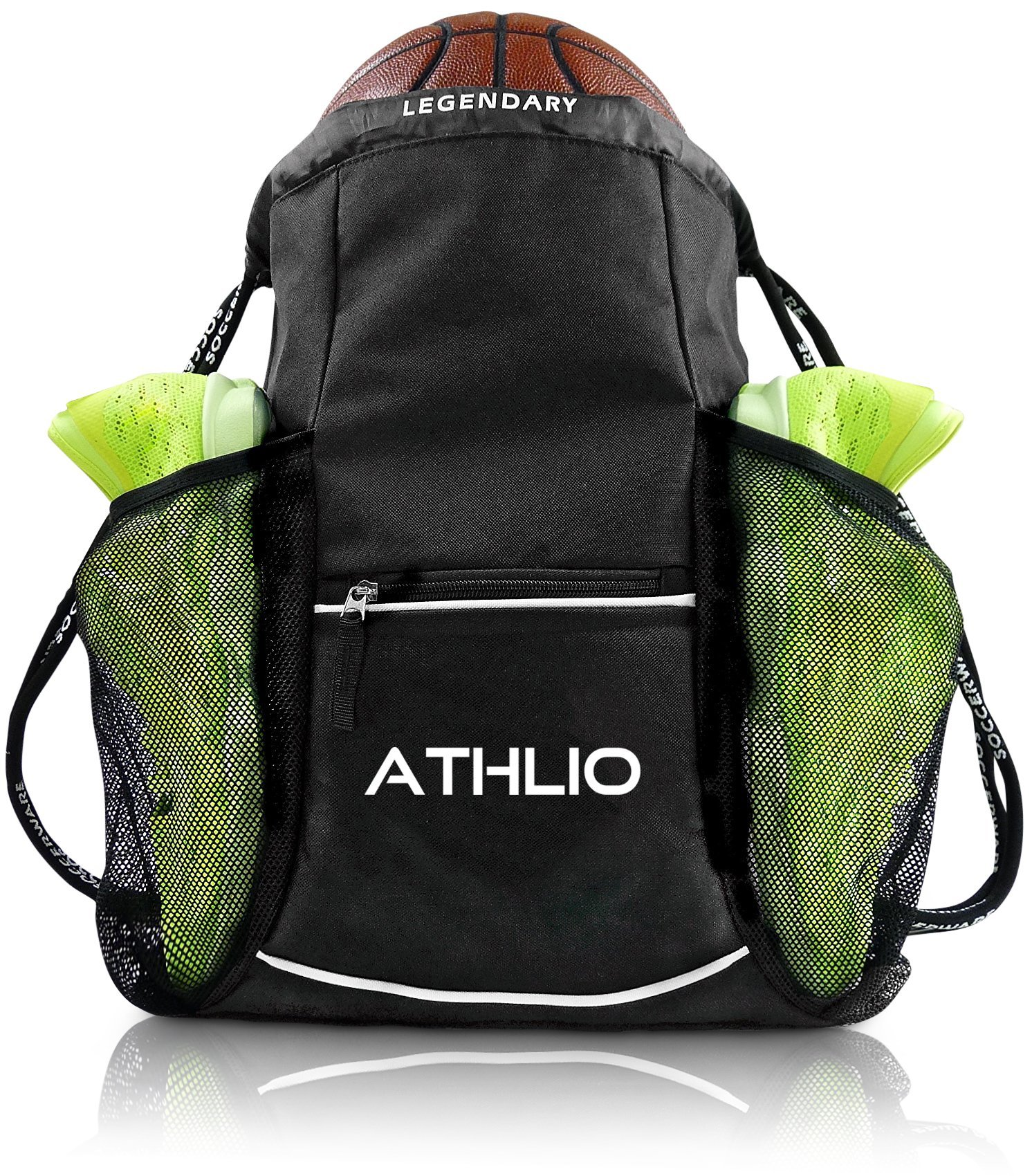 Legendary Drawstring Gym Bag - XL Capacity | Fits All Sports Gear | Waterproof Heavy-Duty Sackpack/Backpack (Black)