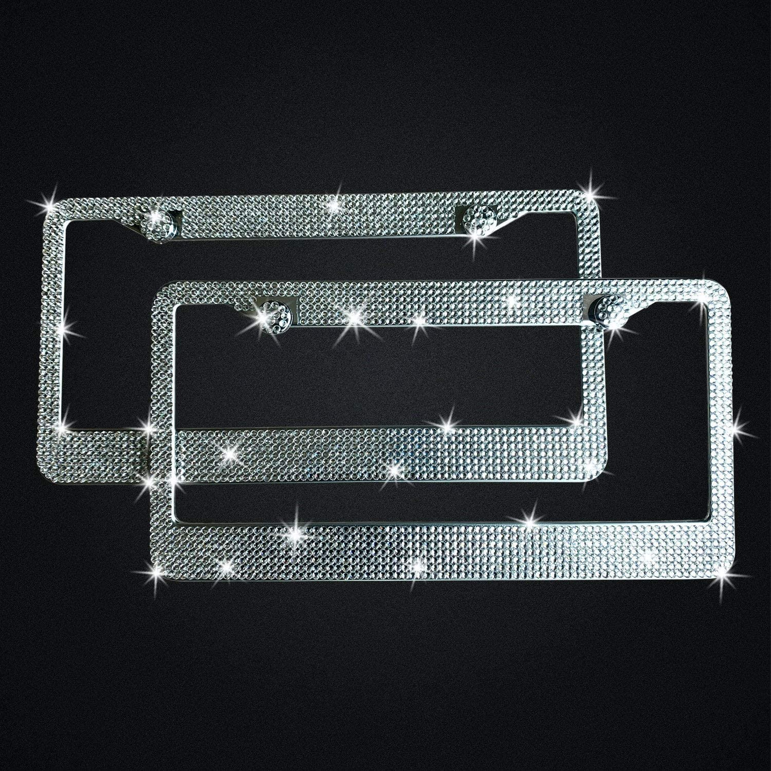Black Car Bling Bedazzled License Plate Frames 2Pack Handcrafted Luxury Rhinestone Cute Cover for Women Men Premium Gift Box Glass Diamond Tag Anti-Theft Cap